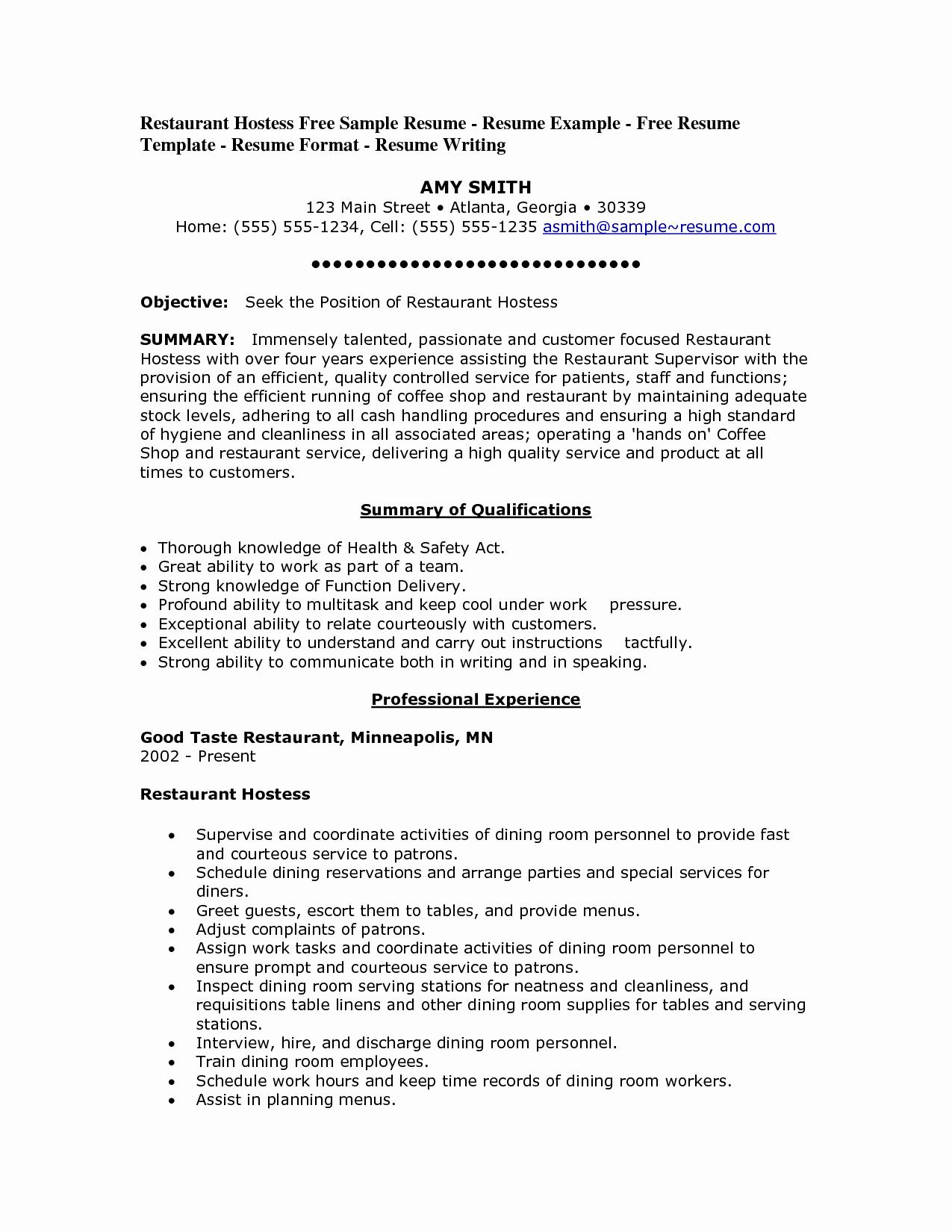 Resume for Restaurant Worker Resume Ideas