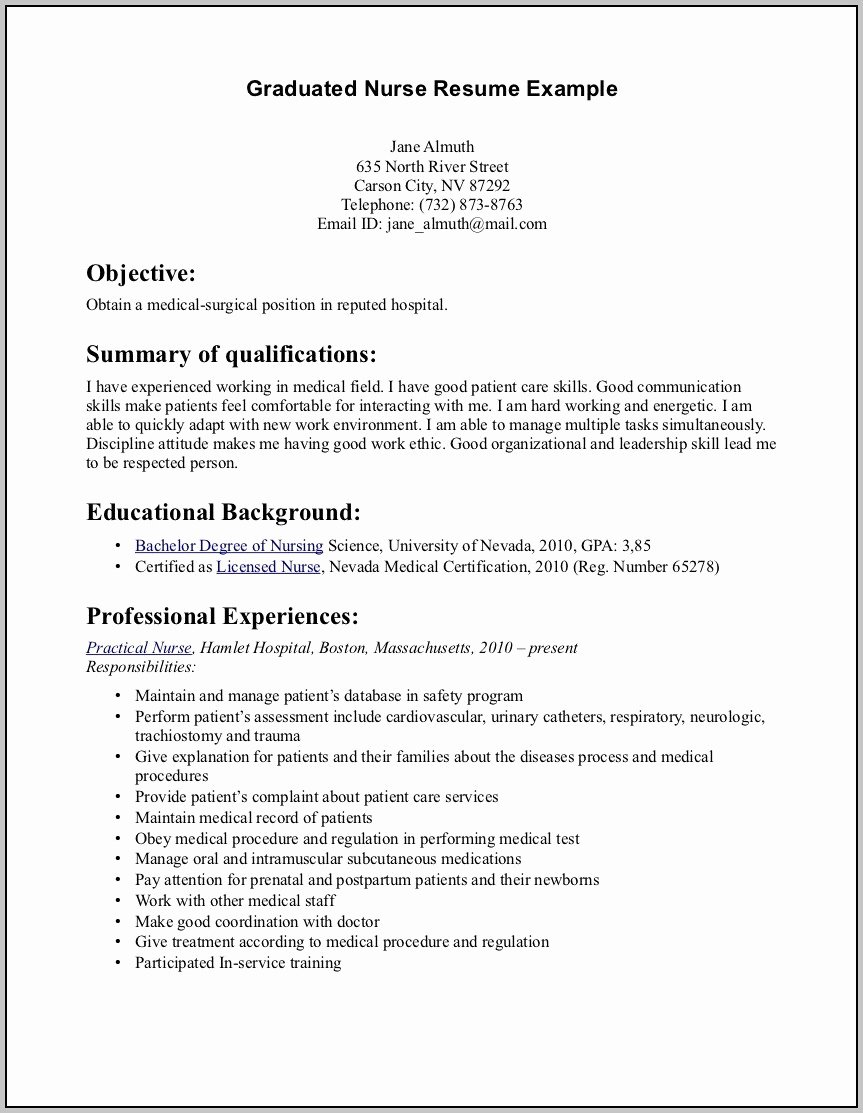 resume for rn new grad