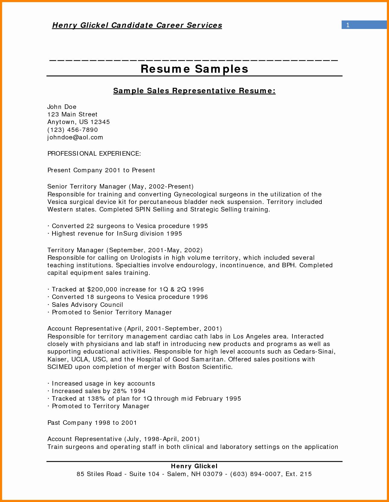 Resume for Sales Representative Jobs Sidemcicek