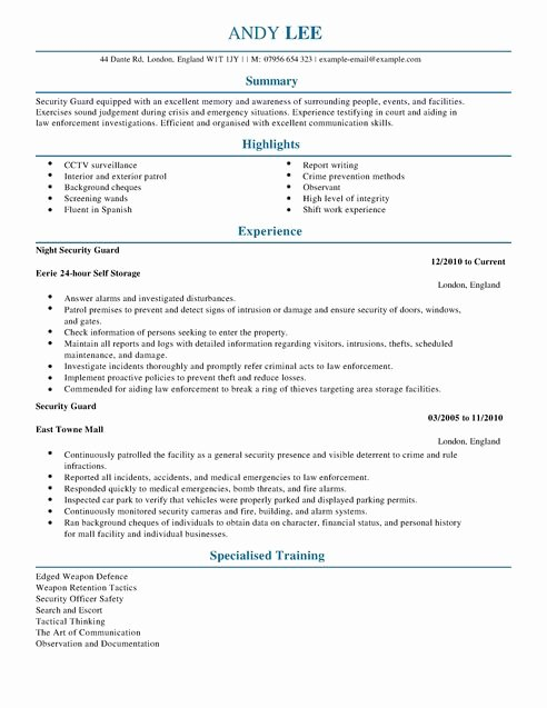 Resume for Security Ficer
