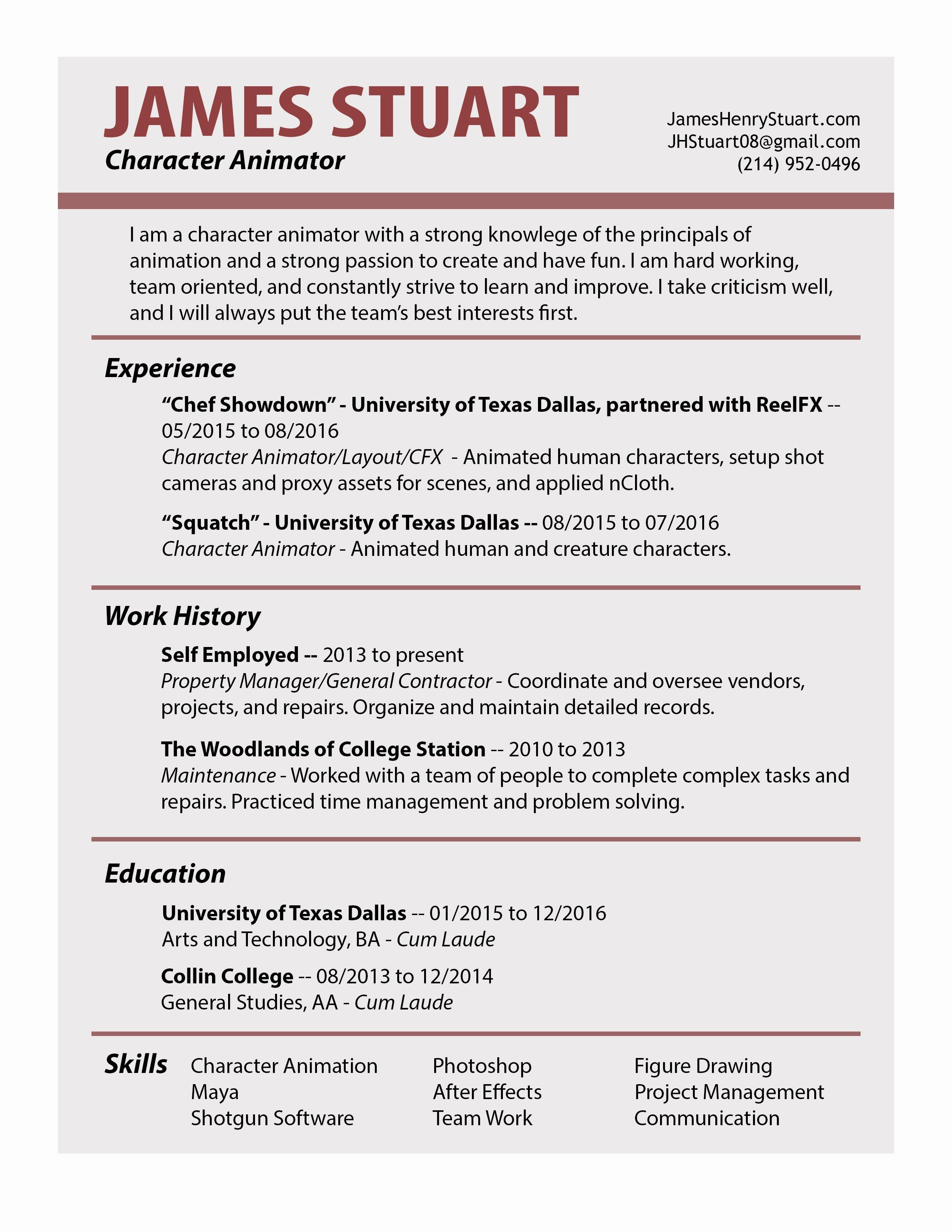 Resume for Self Employed General Contractor Bongdaao