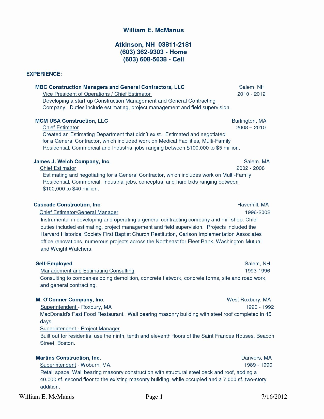 Resume for Self Employed General Contractor Bongdaao