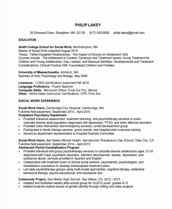 Resume for social Work – Creero