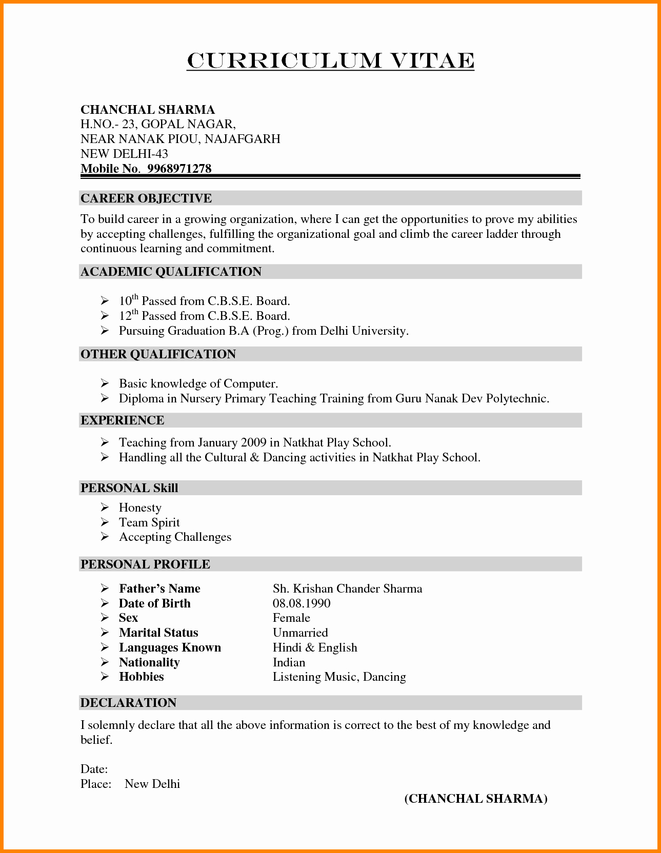 Resume for Teaching Job In India Sidemcicek