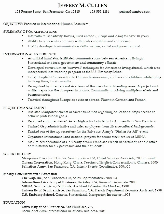 Resume for Undergraduate College Student with No