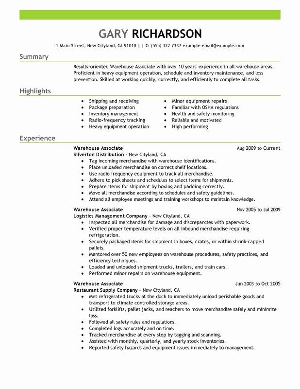 Resume for Warehouse Jobs Warehouse associate Maintenance