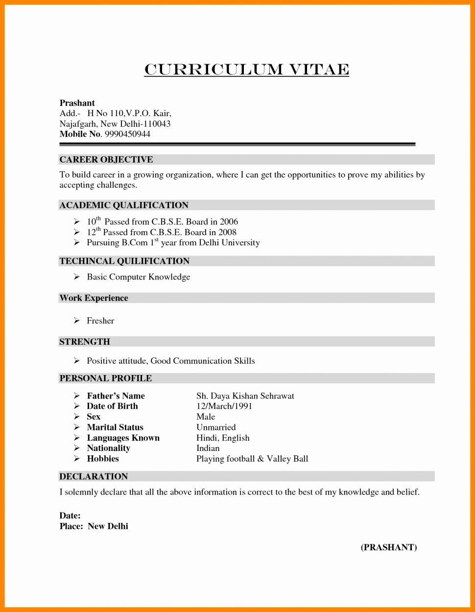 Resume format for Bds Freshers Hirnsturm