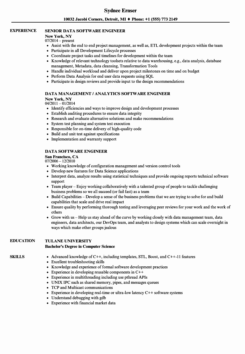 Resume format for Experienced software Engineer