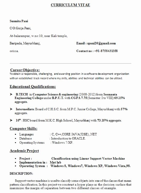 resume format for puter science engineering students