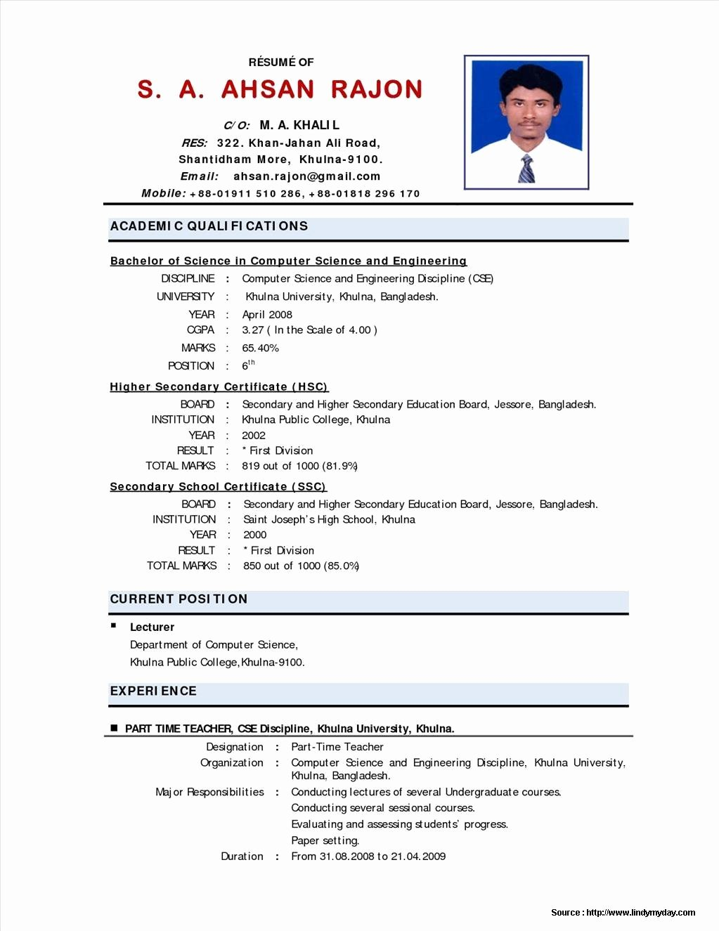 resume format for teaching job fresher