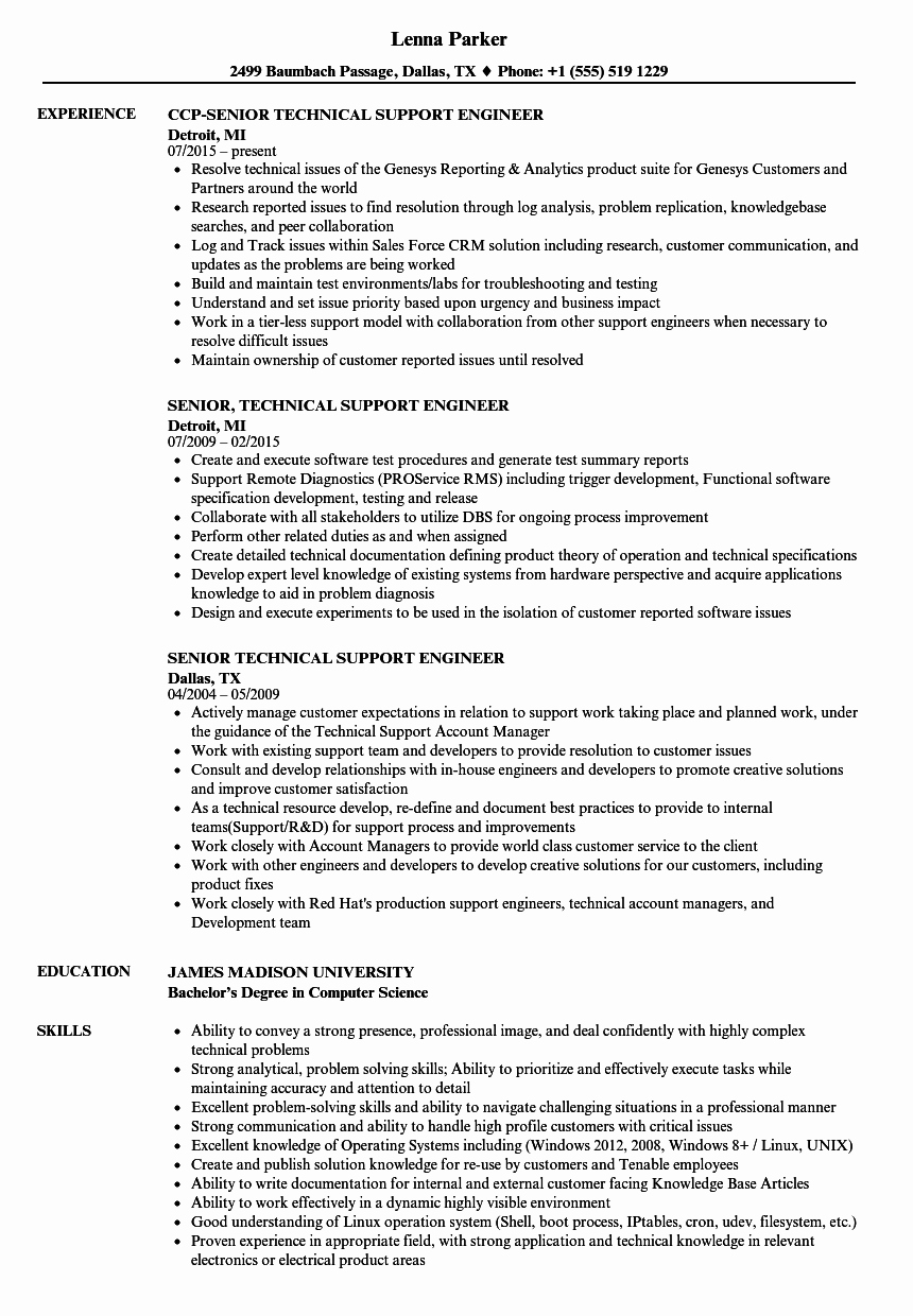 Resume format for Technical Support Engineer Resume