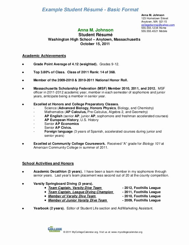Resume format form Resume for College Student