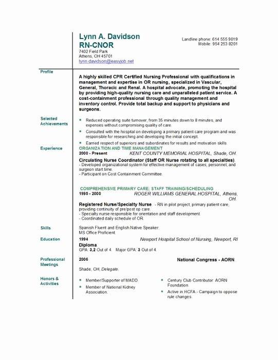 Resume format Free Nurse Resume Template