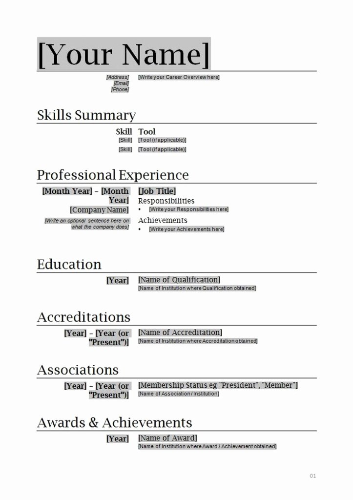 Resume format In Ms Word