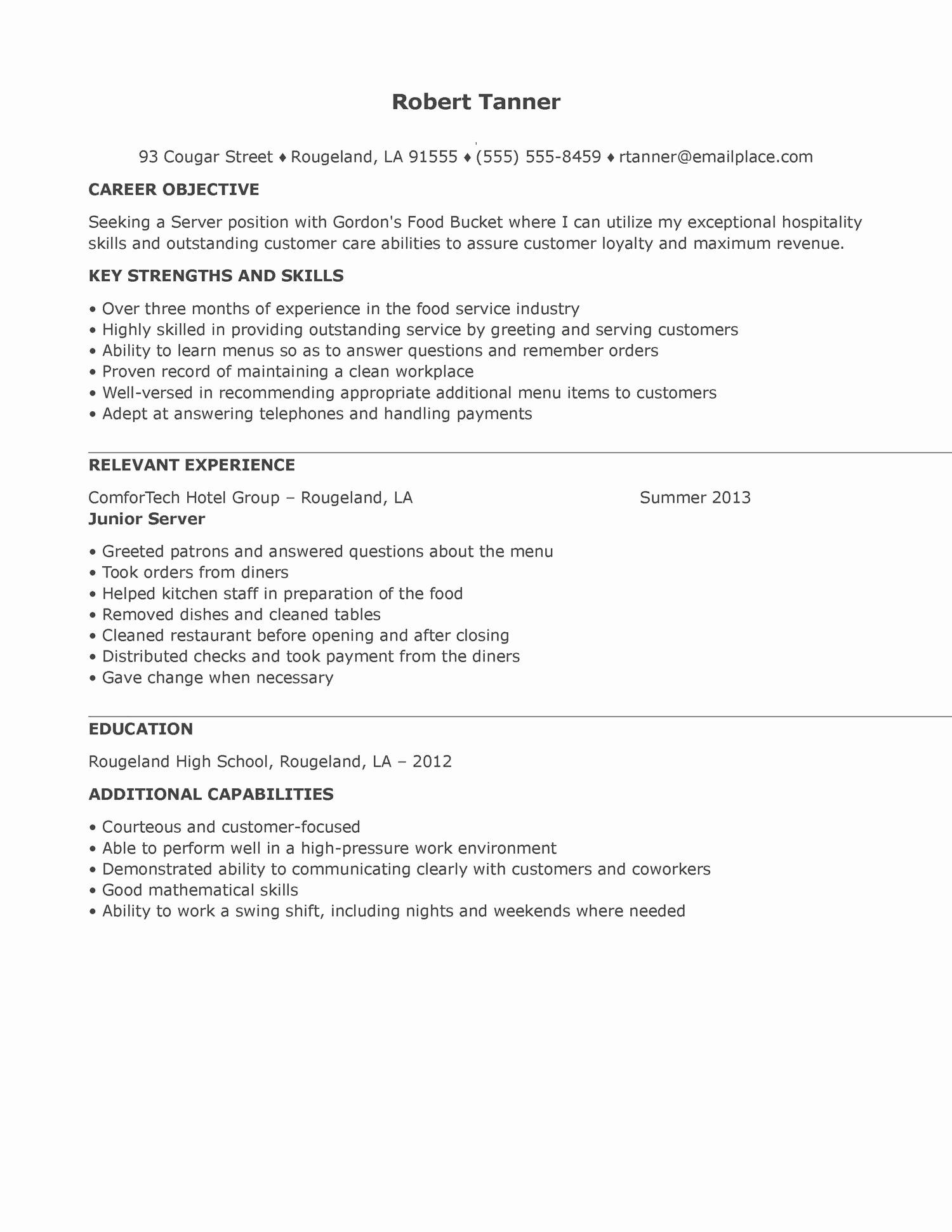 Resume format Restaurant Server