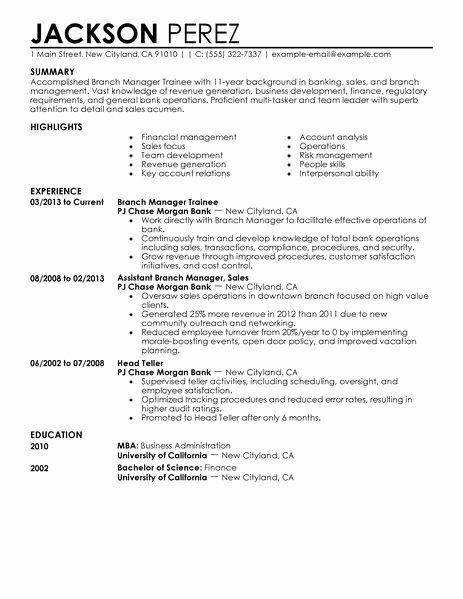 Resume format Resume for Management Trainee Position