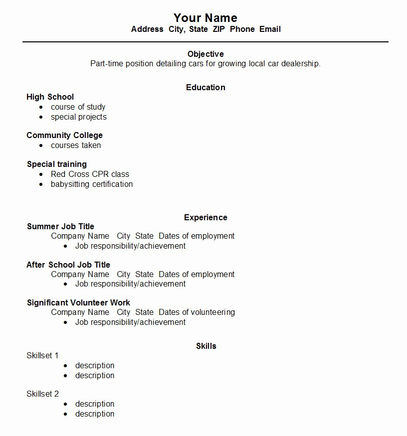 Resume format Resume format High School Student