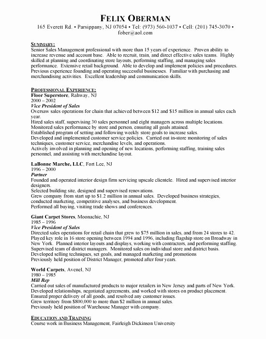 Resume format Resume Samples Vp Sales