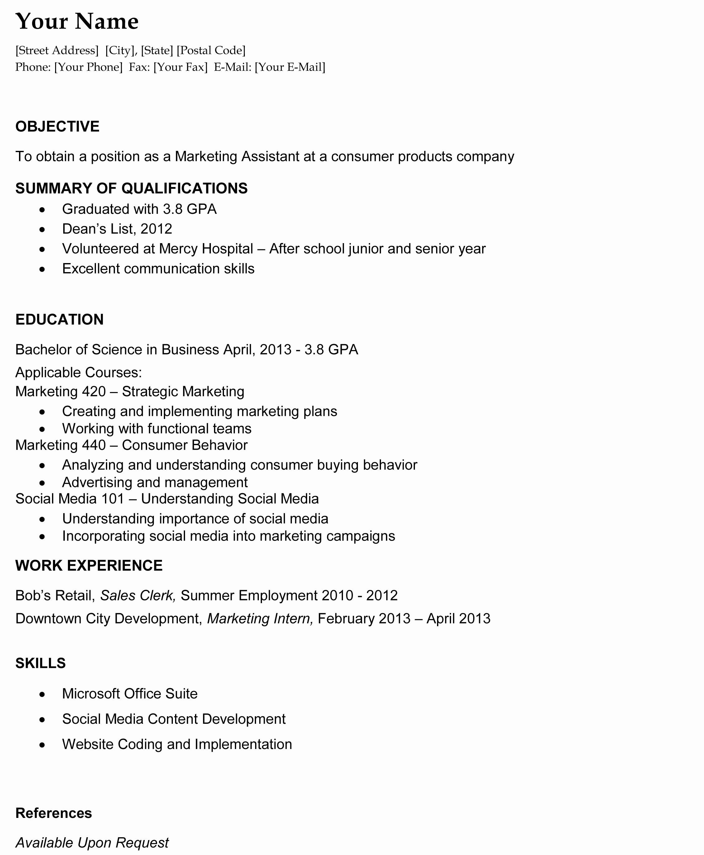 Resume format Resume Templates University