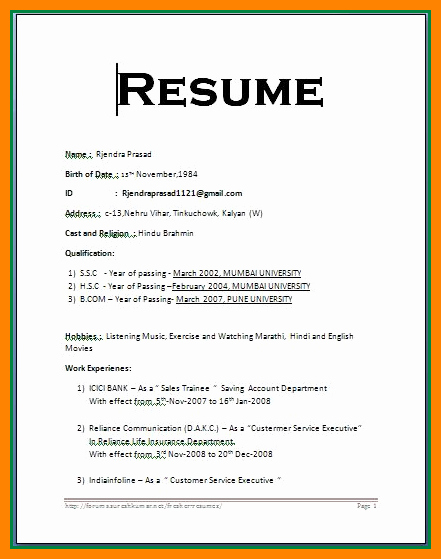 Resume format Word F Resume