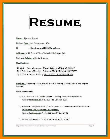 Resume format Word F Resume