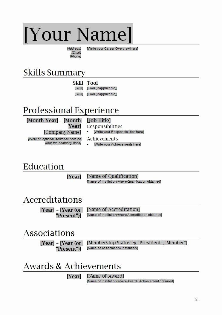 Resume format Word