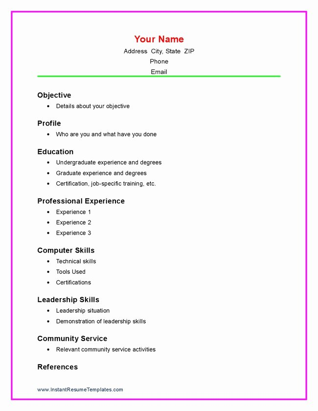 resume formats for high school students