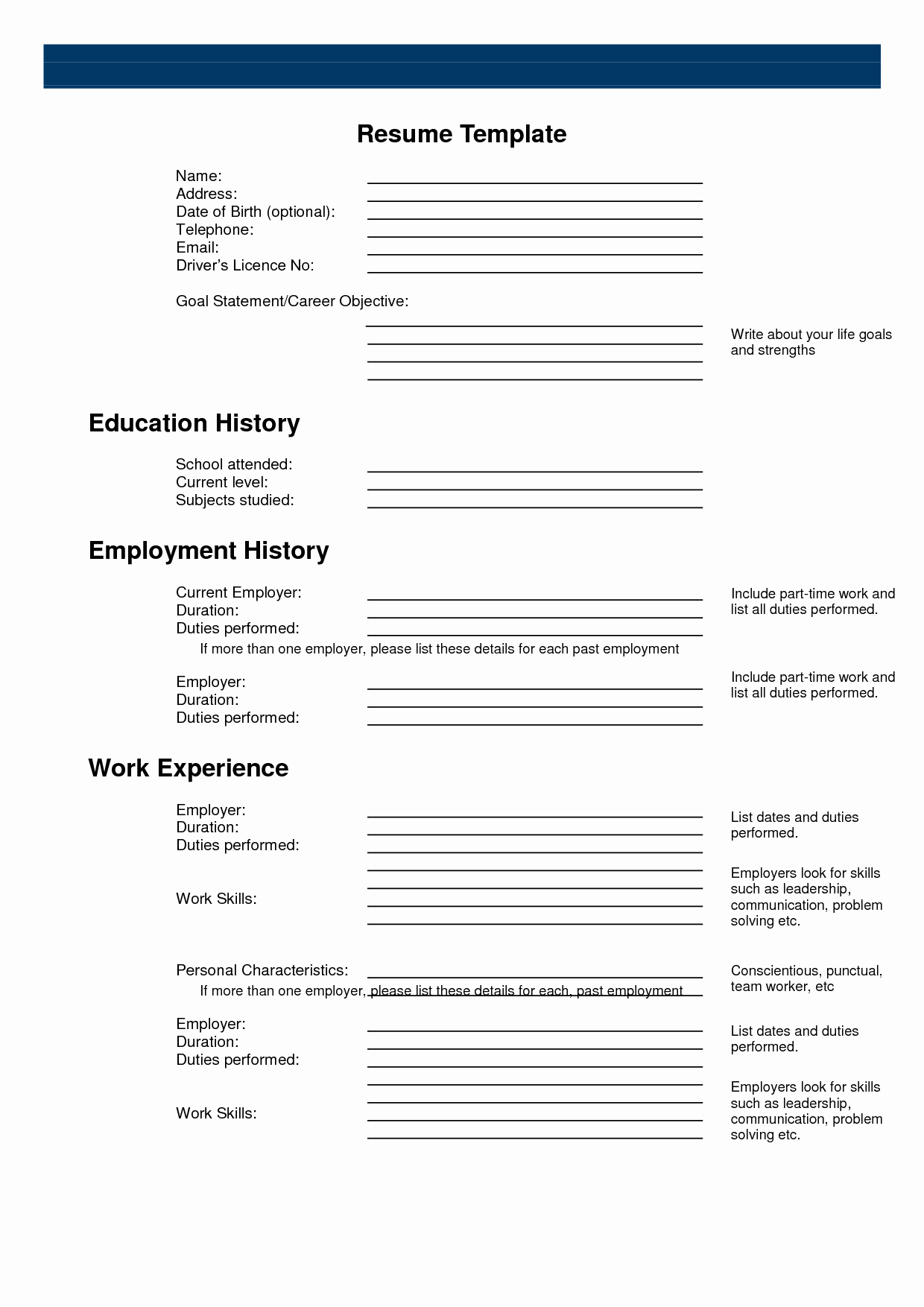 Resume forms Printable Blank Ms Word Fill In Line Free
