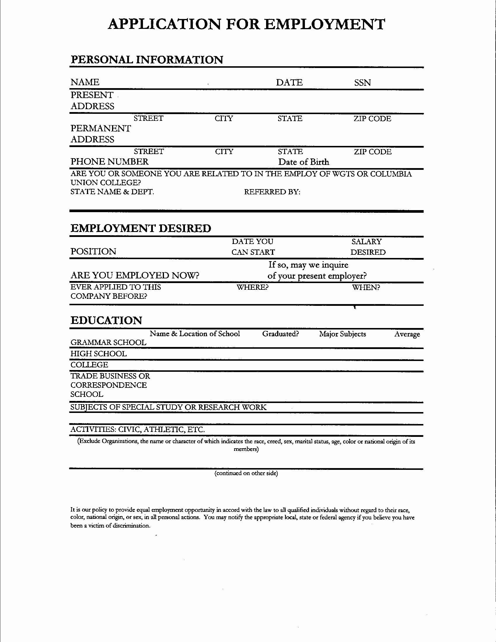 Resume forms to Fill Out Talktomartyb