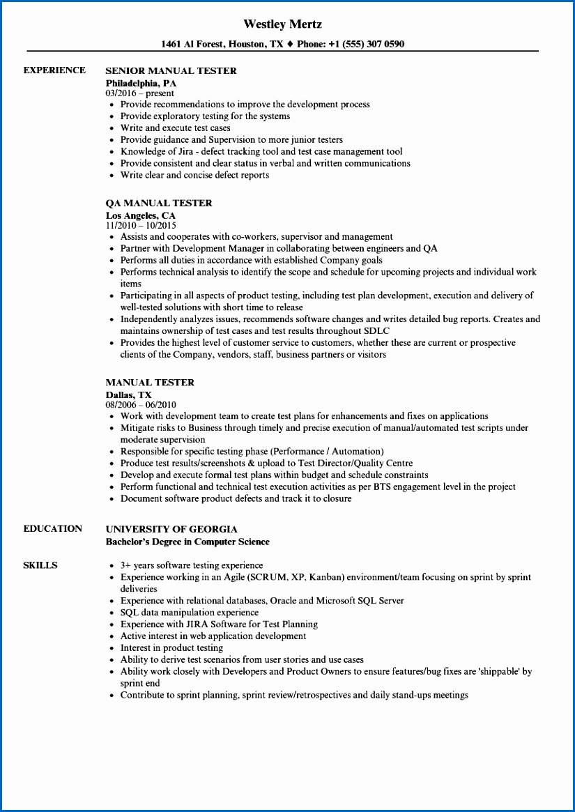 Resume Game Test Engineer Sample Qa Quality assurance