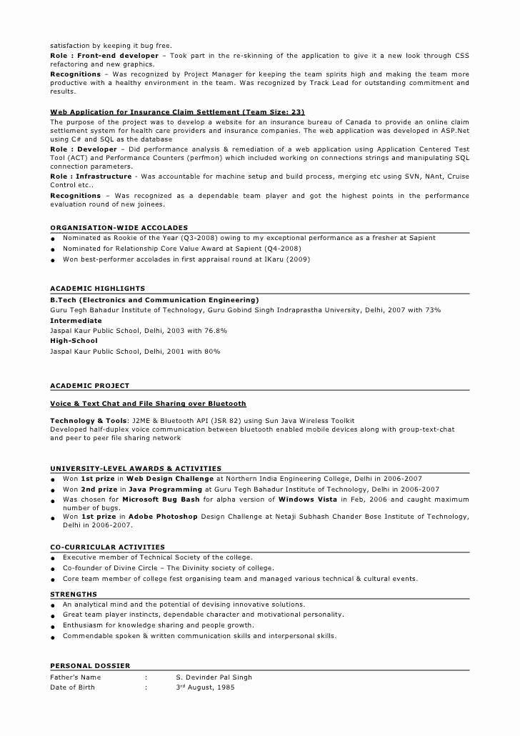 Resume In HTML format Azwg