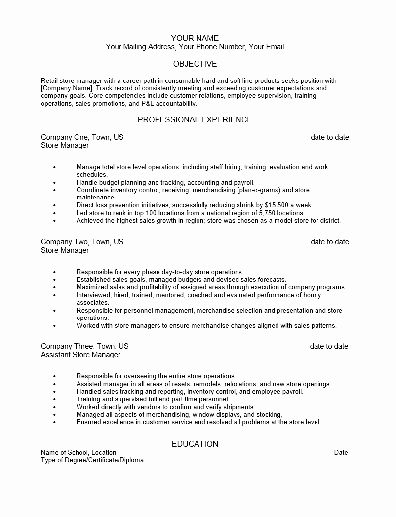 Resume In Retail Sales associate