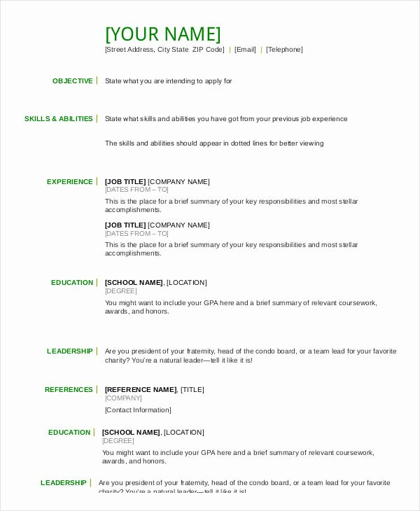 Resume In Word Template 24 Free Word Pdf Documents