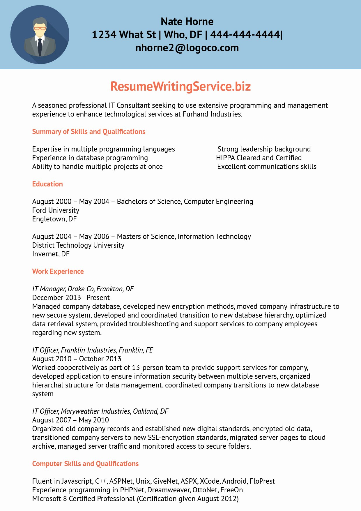 Resume Information Technology Sample Sidemcicek