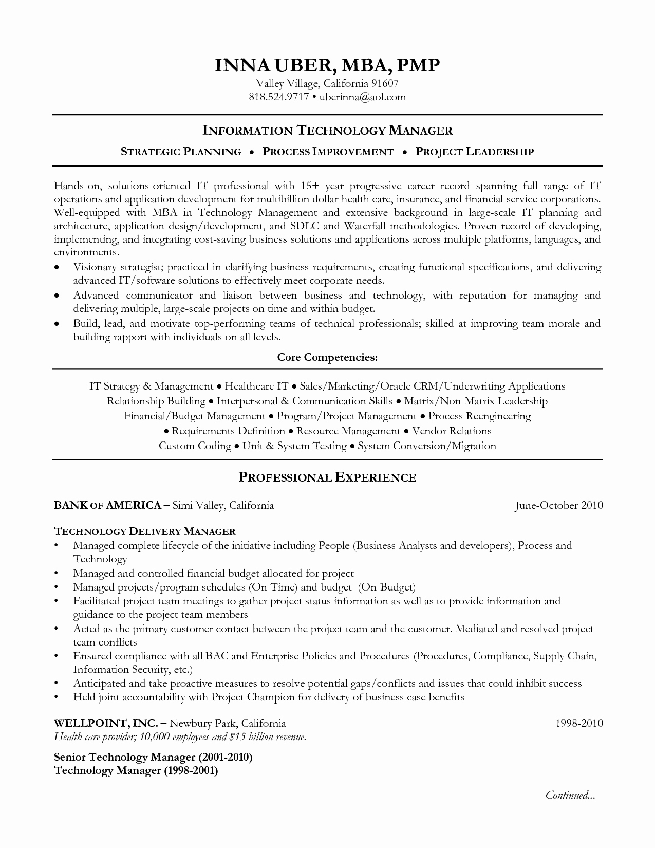 resume information technology sample