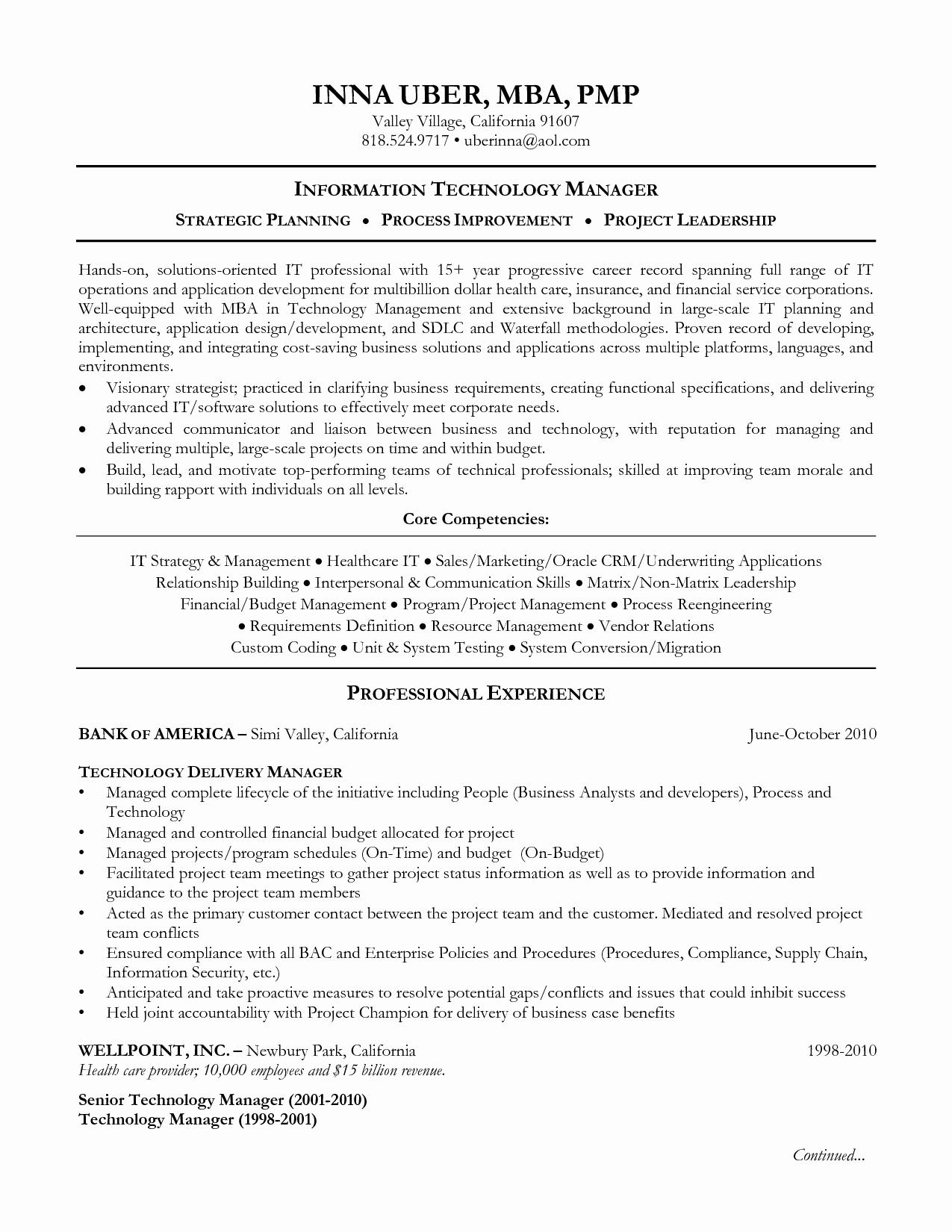 resume information technology sample