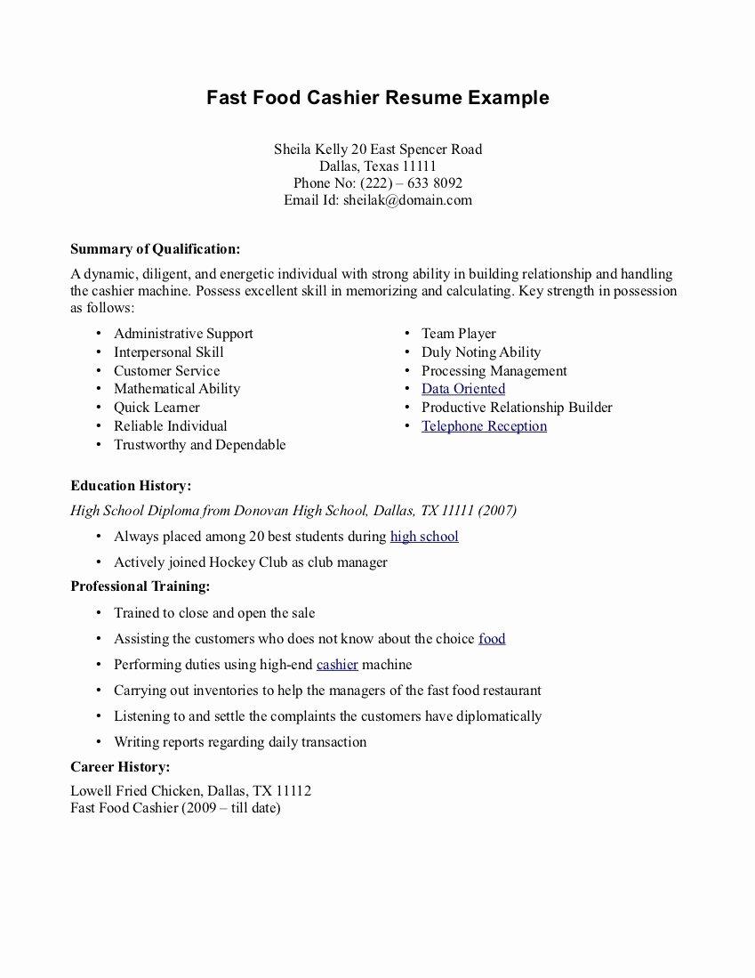 Resume Job Description for Fast Food Cashier