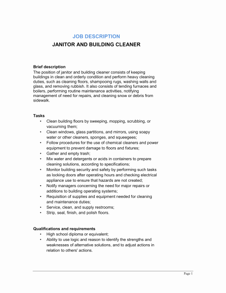 Resume Job Description for Janitor Samplebusinessresume