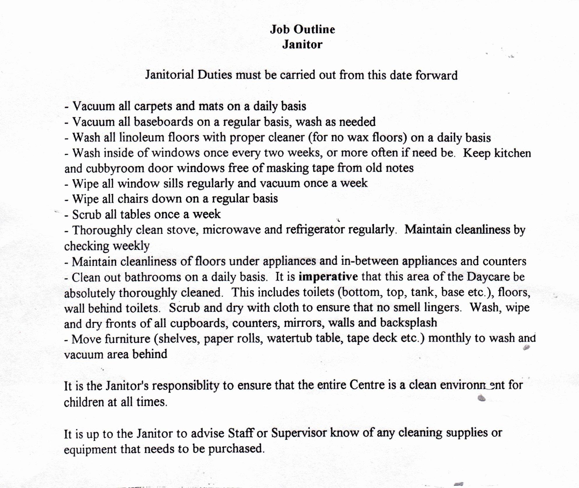 Resume Job Description for Janitor Samplebusinessresume