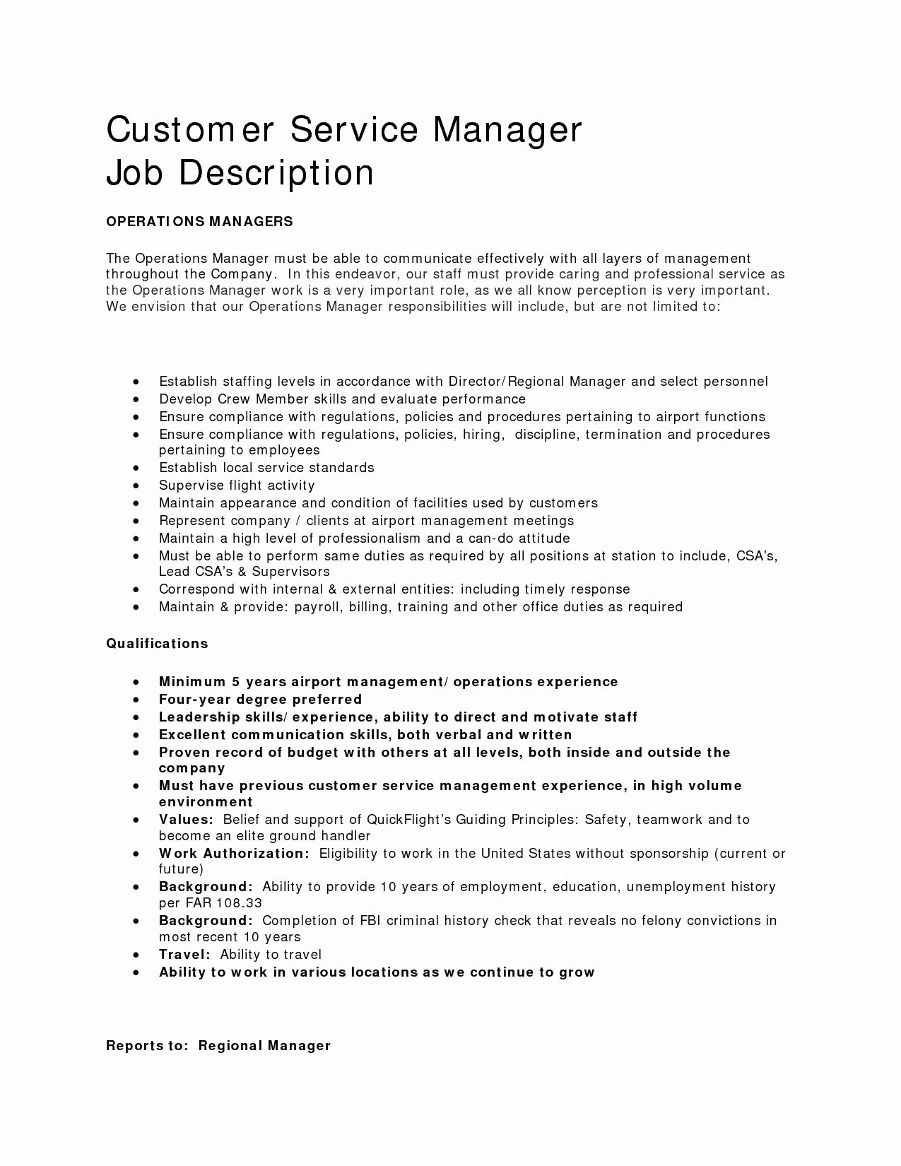 Resume Job Descriptions for Customer Service