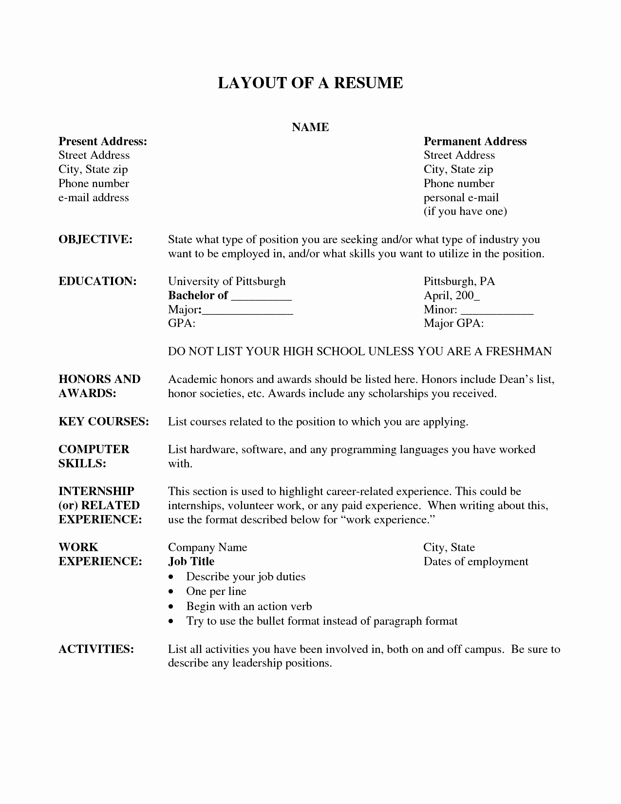 Resume Layout Resume Cv Example Template