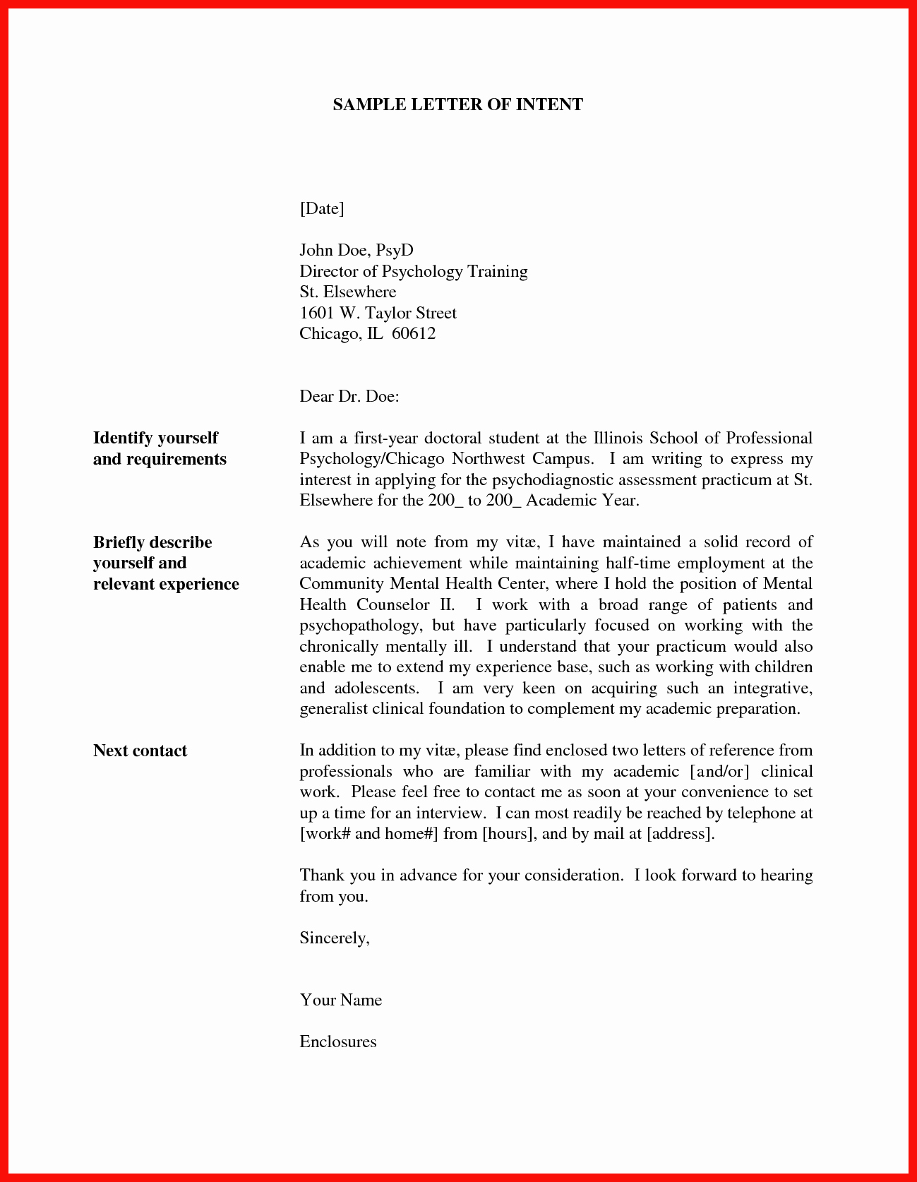 Resume Letter Of Interest