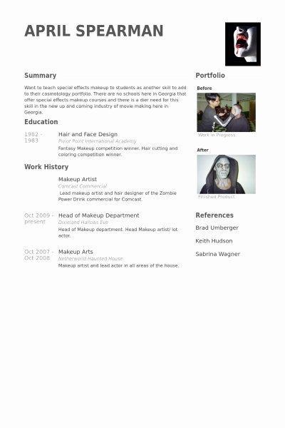 Resume Makeup Artist Best Resume Collection