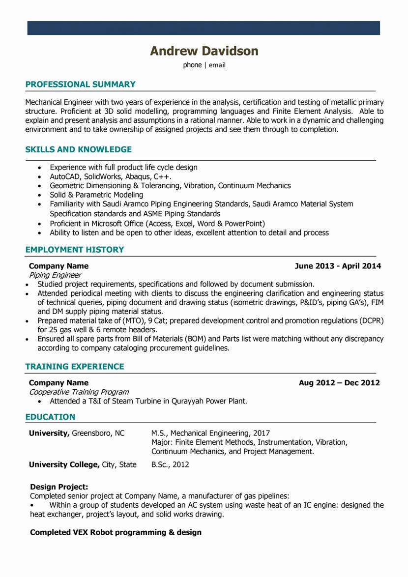 Resume Mechanical Engineer India