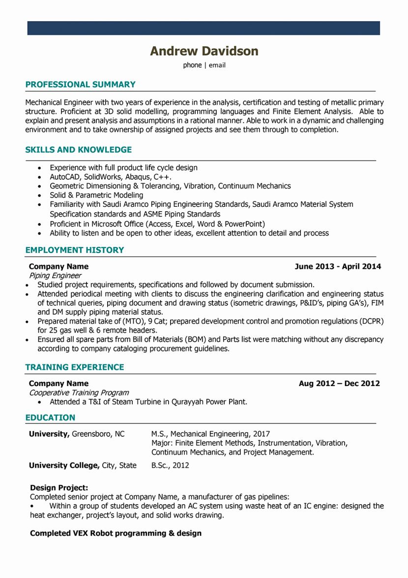 Resume Mechanical Engineer India