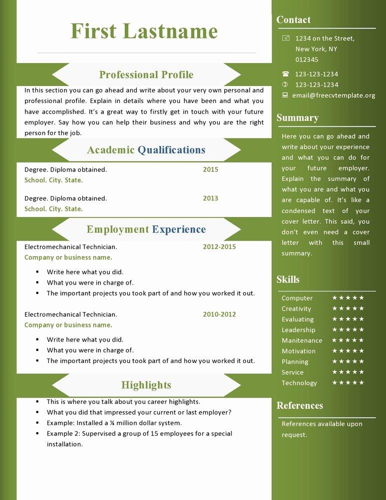 Resume Ms Word format Download Best Resume Gallery
