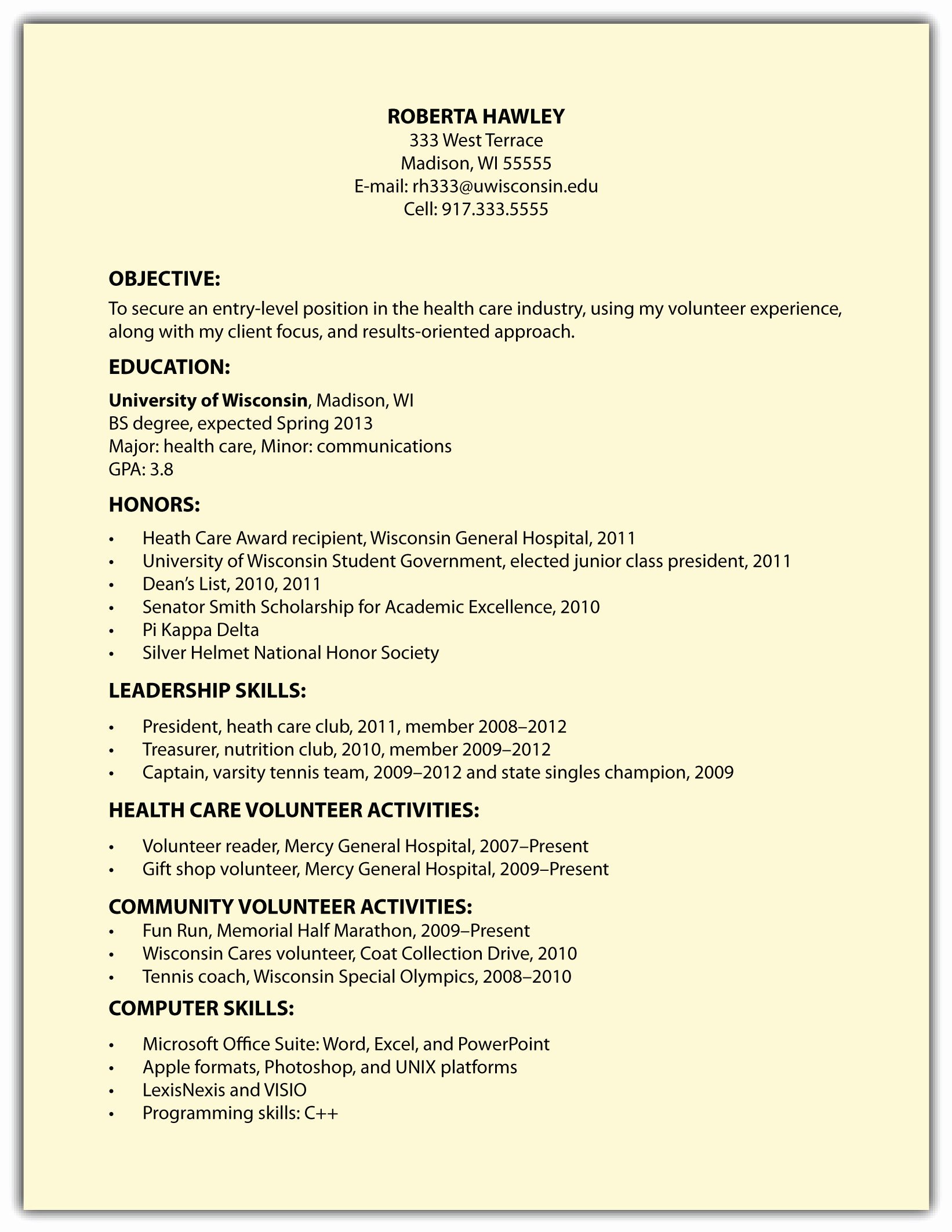 Resume Objective Examples College Student Affordable