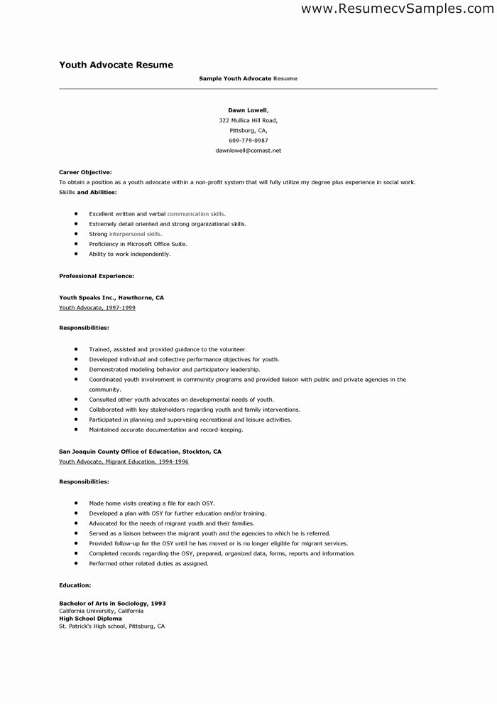 Resume Objective Examples Teenagers