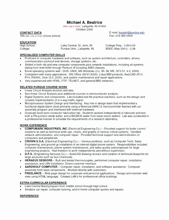 Resume Objective for Campus Job Jobs 2 Part Time