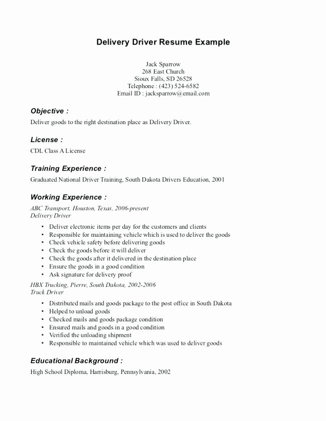 Resume Objective for Truck Driver Resume Ideas